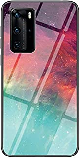 Multicolor Case for Huawei P40 Pro Case Gradient Clear Tempered Glass Cover Case Compatible with Huawei P40 Pro (Colour St...