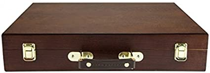 Lightweight Oil-Stained /– Dark Walnut Finish Compartment Storage Brushes Paints Travel - Storage for Art Supplies Mediums Creative Mark Capri 2 Deluxe Wood Artist Paint Box