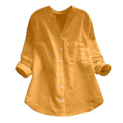 Dorical Damen Leinenhemd -Bequem Mantel Lässig Mode Jacke Frauen mit Langen Ärmeln Vintage Elastische Oberteile Bluse Tops S-5XL Ausverkauf(Z09-Gelb,Small)