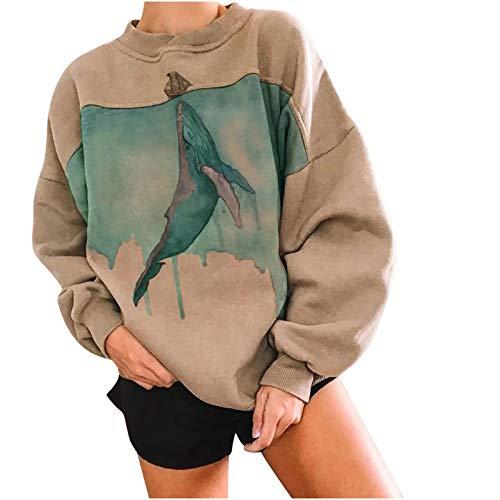 YANFANG Sudadera de Manga Larga Mujeres,Fish Print Casual Impresin Pullover Tops Blusa,Jersey de Mujer sin Mangas con Estilo clsico, Escote en Pico, Material cmodo y Suave,
