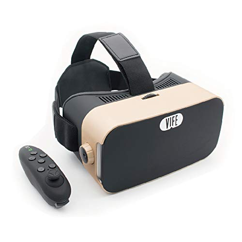 VIFE, Virtual Reality Headset,3D VR Glasses for Mobile Games and Video & Movies,with Bluetooth Remote Controller,Compatible 3.5-6.5 inch iPhone/Android Phone,Including iPhone,Samsung, LG,etc(Gold)