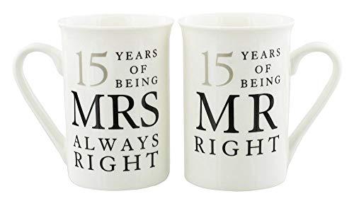 Haysoms Ivory 15th Anniversary Mr Right & Mrs Always Right Mug Gift Set