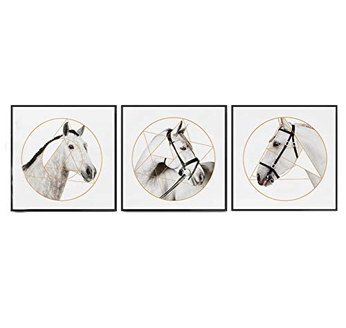 MBQ 3 Pieces Horse Art Canvas Painting Nordic Wall Paintings Wall Decoration Corridor Living Room Print