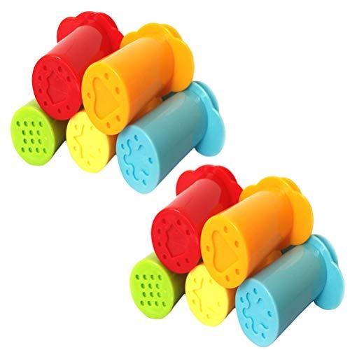Toyvian Extrusores de Masa para niños Extrusión de jeringas Diseños Surtidos de plastilina Juego de Herramientas de elaboración de moldes 10 Piezas (Color Aleatorio)