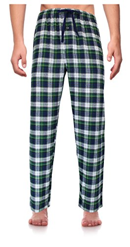 RK Classical Sleepwear Men's 100% Cotton Flannel Pajama Pants,Green, Plaid (F0162),Large
