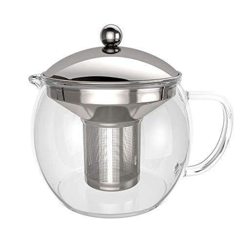 bonVIVO - Théière avec infuseur à thé TEMPA avec passoire en INOX Amovible, théière pour thé en Vrac, theiere en Verre borosilicaté résistant à la Chaleur avec Couvercle argentée, 1,5 Litre