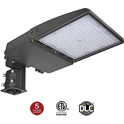Kadision Parking Lot Lights, LED Shoebox Pole Light, Dust to Dawn Photocell/No-Photocell Convertible, Slip Fitter Mount, IP65 ETL & DLC