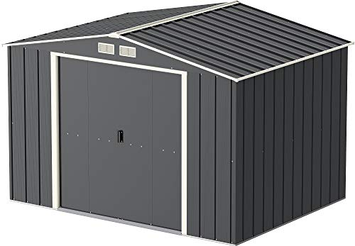 Store More Sapphire 10x8 Metal Garden Shed - Grey