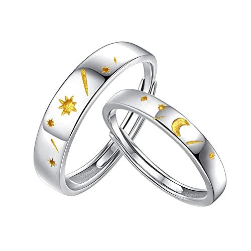 HCMA Un Paio di Anelli in Argento 925 Sole Luna e Stelle Coppia Anelli per Uomo e Donna Coppia Aperta Anelli di Fidanzamento Miglior Regalo