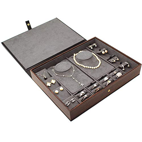 Mooca Flip Top Combination Jewelry Display Set Travel Case Portable Box for Rings, Necklaces, Earrings and Pendant with Reversible Insert, Best Gifts for Women Girls