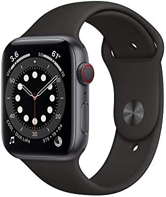 New Apple Watch Series 6 GPS Cellular 44mm Space Gray Aluminum Case with Black Sport Band product image