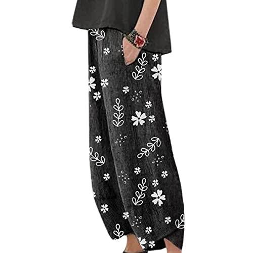 WAEKQIANG Primavera Y OtoñO Casual Estampado Flores PequeñAs Pantalones De Mujer Rectos
