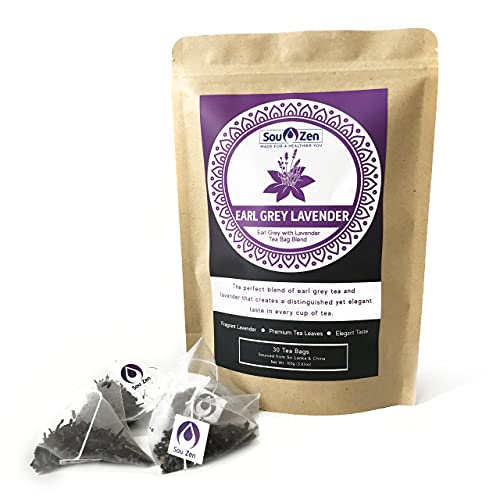 Sou Zen Earl Grey Lavender Tea 30 Corn-fiber Pyramid Tea Bags   Premium Quality Tea Leaves and Flowers   Raw and Naturally Organic Ingredients   Energizing and Revitalizing Tea with No Additives