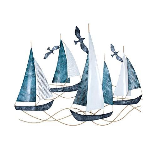 Adorno Pared Decorativo de Metal Barcos con Gaviotas. Cuadros y Apliques. Barcos. Muebles Auxiliares. Decoración Hogar. Regalos Originales. 99,50 x 5 x 78 cm