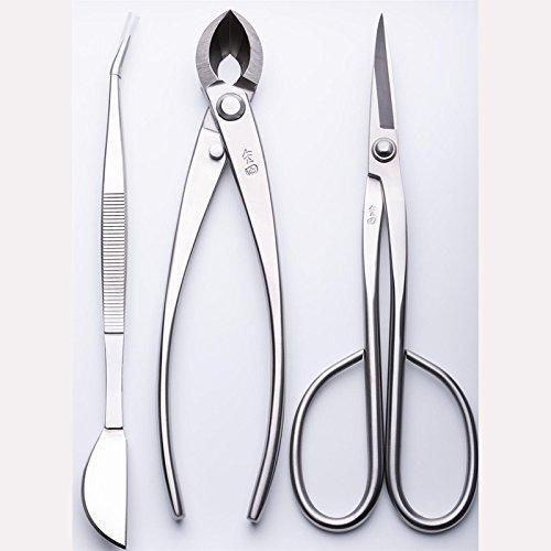 Lot de 3 outils pour bonsaï JTTK-11 avec ciseaux à long manche, coupe branche, pince à épiler de qualité supérieure