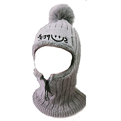 Chicas para Mujer Tejer Bufanda Bufanda Invierno Sombrero de esquí Holgada holgaza Punto con máscara Forrada con Lana Cubierta de Cara Suave cálido Acogedor vellón Alineado Invierno Sombrero esquí-mi