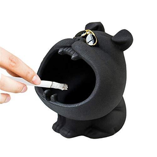 DFRY Bandeja de cenicero para Perros, decoración de Figuras, cenicero de cerámica para Perros de Dibujos Animados para el hogar para Evitar el Polvo para el Escritorio de la Oficina (Negro)