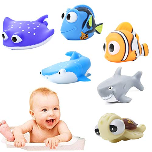 Nesloonp Juguetes de Baño para Bebé, 6Pcs Juguetes de Baño Flotantes, Animales Marinos Juguetes de Baño para Bebés para Nadar Piscina de Verano Baño Juguete,Juguetes de bañera de plástico