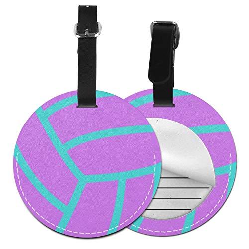 Kofferanhänger PU Leder Lila Fuchsia Aqua Volleyball, Gepäckanhänger ID Etikett Mit Adressschild Namenschild für Reisetasche Koffer