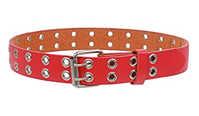 """Kids 1"""" Snap On Two Row Grommets Leather Belt, Red 