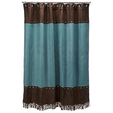HiEnd Accents Cheyenne Western Shower Curtain, Turquoise