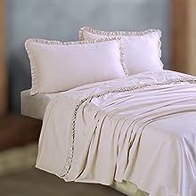CasseseShop PaulWilliams - Juego de sábanas con diseño de Rouche para cama de matrimonio, color crema