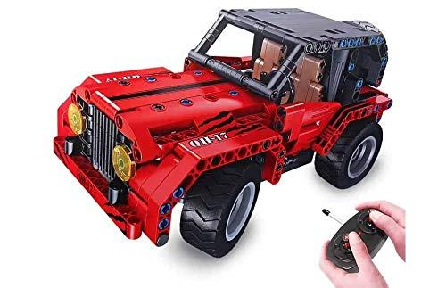 JUGUETECNIC │ Coche Teledirigido para Montar Jeep | Coches Radiocontrol Todoterreno para Niños a Batería | Construye un Jeep o un coche descapotable │ Construcción de 333 Piezas