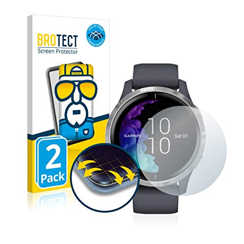BROTECT Full-Cover Schutzfolie kompatibel mit Garmin Venu (43 mm) (2 Stück) - Full-Screen Bildschirmschutz-Folie, 3D Curved, Kristall-Klar