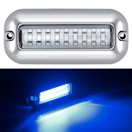 Kawell 27LED LED Underwater Boat Yacht Lights Waterproof IP68 SUS316 Stainless Steel Pontoon Marine Transom Lights for Swiming Driving Fishing White
