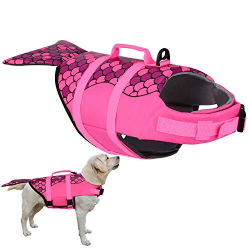PetLoft Dog Life Jacket, Adjustable Safety Floatation Dog Life Vest Preserver for Swimming/Boating/Beach Playing, 2 Cute Patterns Available (L, Hot Pink Mermaid)