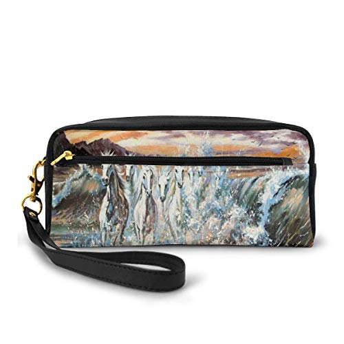 Pencil Case Pen Bag Pouch Stationary,Group of Pacing Horses in The Water with Fantastic Surreal Environment Life Force Retro Paint,Small Makeup Bag Coin Purse