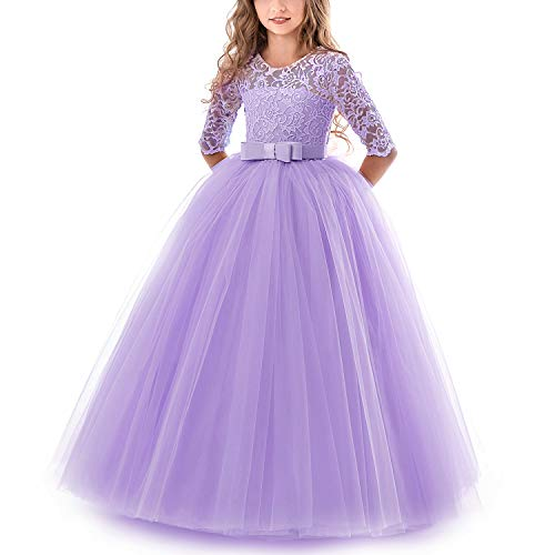 TTYAOVO Mädchen Festzug Ballkleider Kinder Spitze Gestickte Prinzessin Hochzeit Kleid Größe (170) 13-14 Jahre Lila 1