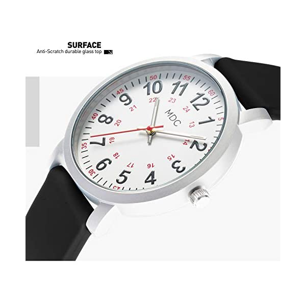 MDC Nurse Watch for Medical Students,Doctors, Nursing Watches for Women with Second Hand, 12/24 Hour Display, Waterproof, Silicone Band