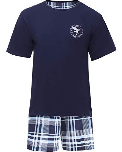 Timone Pyjama Ensemble Haut et Bas Vêtements d'Intérieur Homme TI30-108(Navy Bleu/Carreaux9555408, M)
