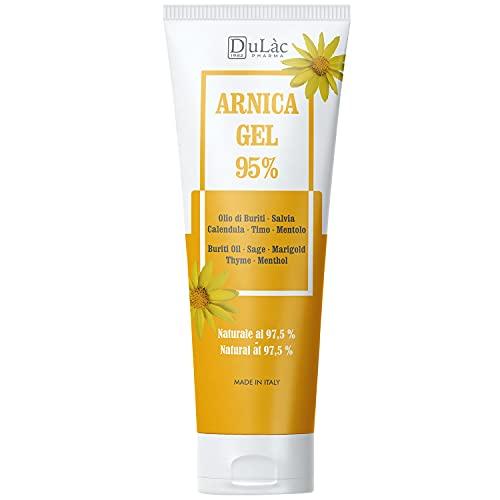 Arnica Gel 95%, 100 ml, Apaisant grâce à l'Arnica Montana, aux huile de Buriti, extraits de Sauge et de Calendula, à l'huile essentielle de Thym et au Menthol, Naturel 97,5%
