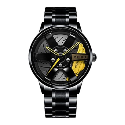 Kuashidai Reloj deportivo 3D para hombre con diseño de rueda hueca de acero inoxidable, resistente al agua