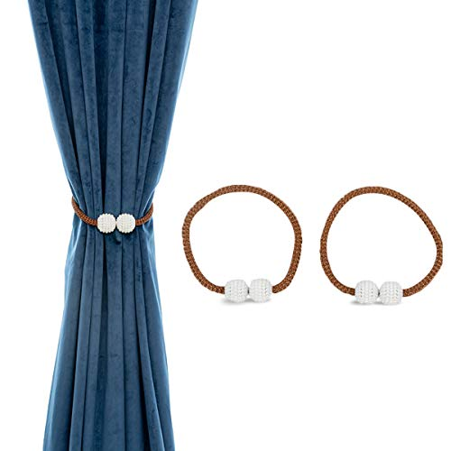 AINAAN 2 Pack Magnetic Curtain Tiebacks Convenient Drape Tie Backs Pearl Decorative Rope Holdback Holder for Small, Thin or Sheer Window Drapries, 2019, Brown