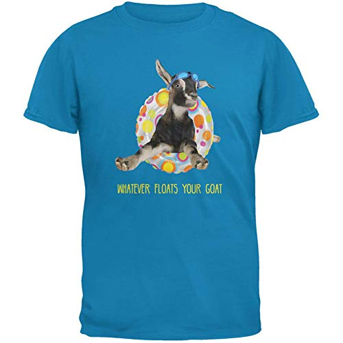 Animal World Whatever Floats Your Goat Boat Sapphire Blue Adult T-Shirt - X-Large