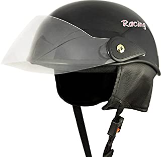 Anokhe Collections Women's PC Shell Racing Master Half helmet (Glossy Black)