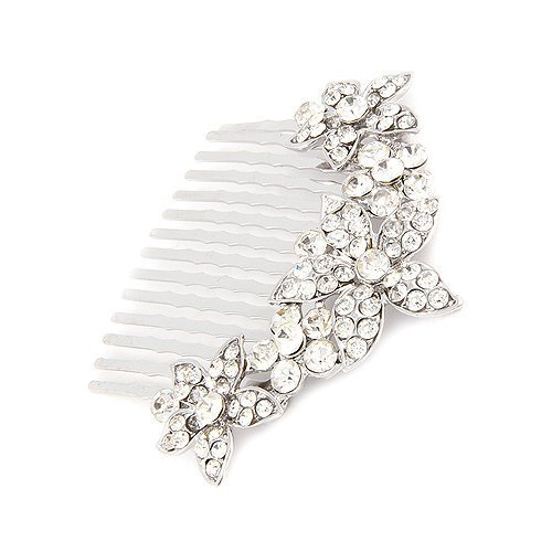 ACCESSORIESFOREVER Women Bridal Wedding Jewelry Crystal Rhinestone Multi Flowers Hair Comb Clear Silver by Accessoriesforever