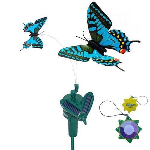 HQRP Double Papillon Solaire Bleu machaon Volante Flottant propulsé par Soleil ou Batterie AA pour Jardin Plantes Fleurs