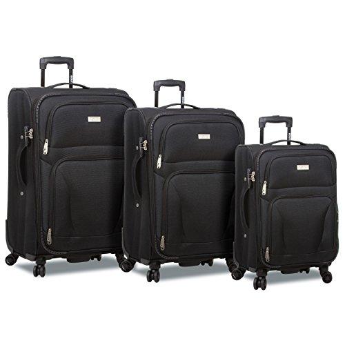 Rolite Trek 3-piece Expandable Spinner Combination Lock Luggage Set-Black, One Size