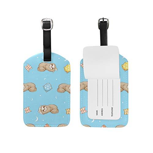 Etiqueta de equipaje de piel sintética con diseño de perezoso durmiendo
