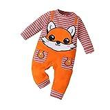 Beudylihy Pelele de manga larga para niños y niñas, unisex, divertido mono, 1 pieza, estampado de dibujos animados, color naranja, de algodón, cuello redondo naranja 3-6 Meses