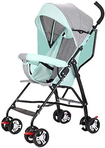 DAGCOT Cochecito cochecito cochecito puede sentarse reclinado simple bebé paraguas plegable portátil ultra ligero niños Mini carro de bebé de la carretilla (Color : Green)