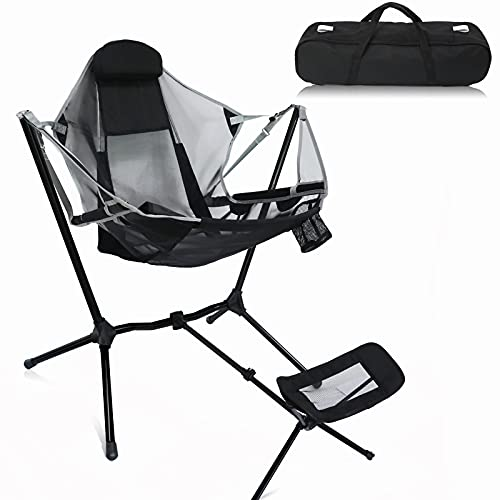 KUBYA Camping Chairs Rocking Camping Chair Folding Chairs for Outside with Handbag Footrest, Swinging Camp Chair for Camping Balcony Lawn Fishing Picnic -Grey