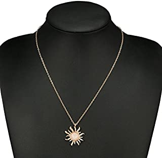 CanB Crystal Sun Pendant Necklaces Chain Jewelry for Women Girls (Gold)