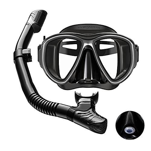 ANTOBAG Dry Snorkel Set Mask Snorkeling Gear with Advanced Nostril Valve, Diving Mask Package Safe Breathing with Anti-Fog Anti-Leak 180° Panoramic View Glass Diving Snorkels for Adults Men Women