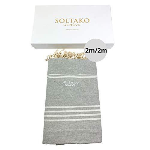 SOLTAKO Toalla de playa XXXL, 2 x 2 m, toalla de sauna, toalla de baño, toalla de hamam, toalla de yoga, pestemal, en color gris pastel, en elegante caja de regalo, extragrande, 200 x 200 cm