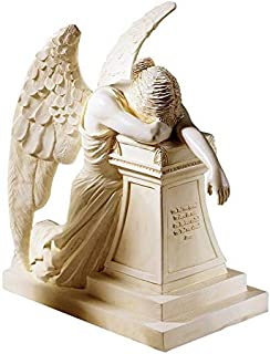 Design Toscano Angel of Grief Monument Religious Figurine Statue, Desktop, 7 Inch, Polyresin, Antique Stone